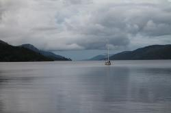 scotland, loch ness, see, water, boot, evening, clouds