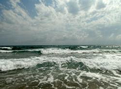 sea, beach, ocean, water, sky, clouds, wave, cloud