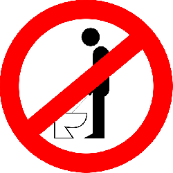 sign, cartoon, toilet, allowed, standing, urinating