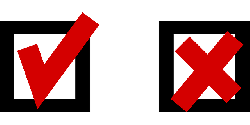 sign, check, tick, yes, cross, accept, reject, okay