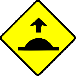 sign, danger, warning, caution, sped, hump
