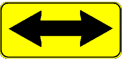 sign, left, right, two, yellow, arrow, shapes, double
