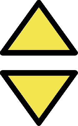 sign, simple, yellow, triangle, cardinal, beacon