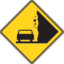 sign, symbol, rock, signs, traffic, road, falling