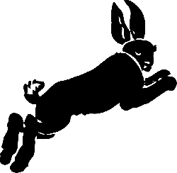 silhouette, cartoon, running, rabbit, hare, jumping