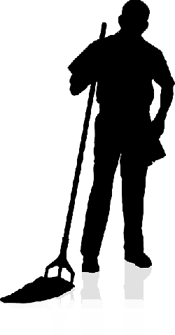 silhouette, cleaner, mop, standing, job, janitor
