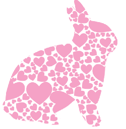 silhouette, heart, pink, spring, bunny, holiday, easter