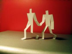 silhouettes, paper, cutout, couple, red