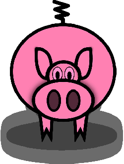 simple, cartoon, barn, farm, pig, animal