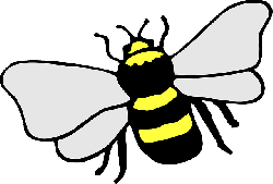 simple, cartoon, bee, stripes, wings, art, insect