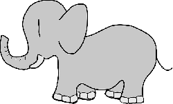 simple, cartoon, elephant, animal, tail, trunk, tusks