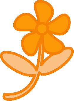 simple, plants, leaf, flower, flowers, cartoon, orange
