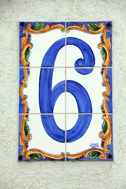 six, number, house number, blue, tile, pay