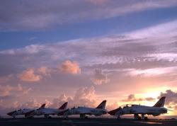 sky, clouds, planes, jets, fighters, ship