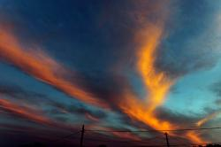 sky, sunset, vivid, outdoors, nature, vibrant, clouds
