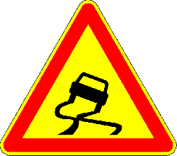 sliding, car, curvy, old, french, attention, sign