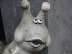 snail, funny, stone figure, probe, animal, mouth, eyes