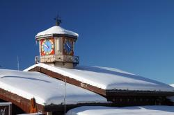 snow, winter, roof, white, clock, blue, cold, icy, time