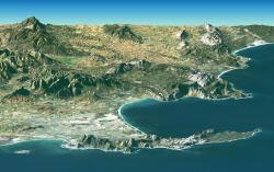 south africa, cape town, srtm, bird's eye view