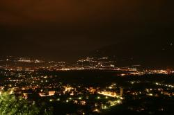 south tyrol, italy, mountains, view, city, night