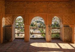 spain, alhambra, pavilion, facade, palace, castle, view
