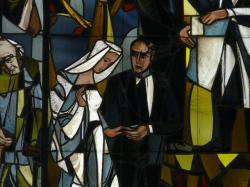 stained glass, image, glass, nun, woman, man