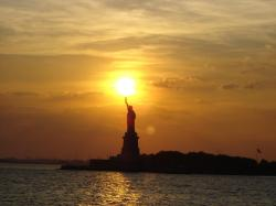 statue of liberty, new york city, sunset, sky, clouds