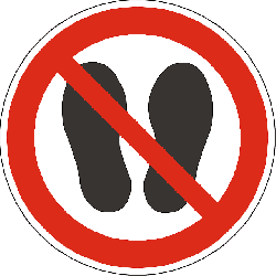 step, walk, stand, footprints, foot print, prohibited