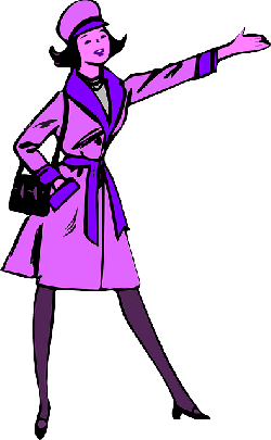 stop, lady, woman, purple, pointing, coat, taxi, purse
