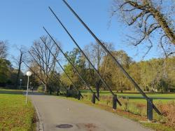 stuttgart, park, castle park, sculpture, rods, steel