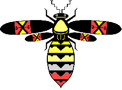 stylized, bee, style, arrows, colors, insect, color