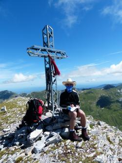 summit cross, man, person, summit stormer, wanderer