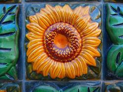 sun flower, tile, tiles, ceramic, green, yellow
