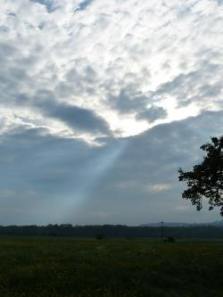sunbeam, clouds, sky, breakthrough, nature, landscape