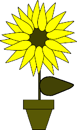 sunflower, potted plant, flower, plant, simple