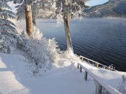 sunny, winter day, snow, ice, canim lake