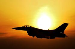sunrise, sky, clouds, sun, bright, jet, fighter