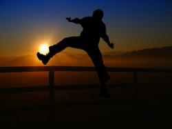 sunrise, sunset, man, person, football, kick, shot