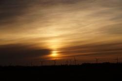 sunset, abendstimmung, romantic, sky, wind turbines