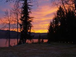 sunset, colorful  canim lake, british columbia, canada