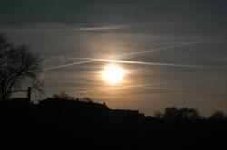sunset, contrail, sun, sky, clouds, golden, sparkle