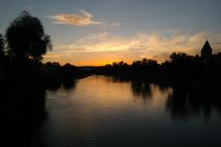 sunset, evening sky, clouds, sky, river, danube, water