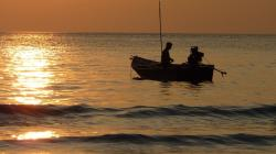 sunset, fischer, fishing at sunset, twilight, thailand