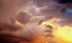 sunset, sundow, cloud shapes and textures, solid