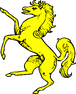 symbol, shield, horse, gold, coat, arms, crest, animal