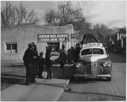 taos, new mexico, 1941, black and white, bus depot