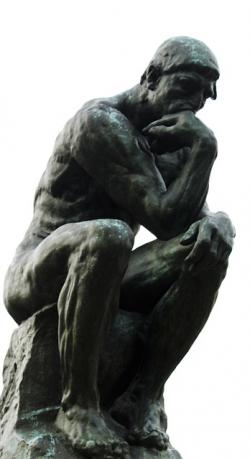 thinker, person, sit, sitting, thinking, statue