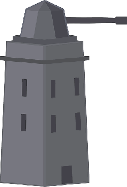 tower, flat, icon, cartoon, air, gun, weapon, turret