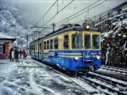 train, shine bus, tram, snow, winter, cold, passengers