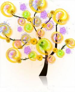 tree, colorful, light wheels